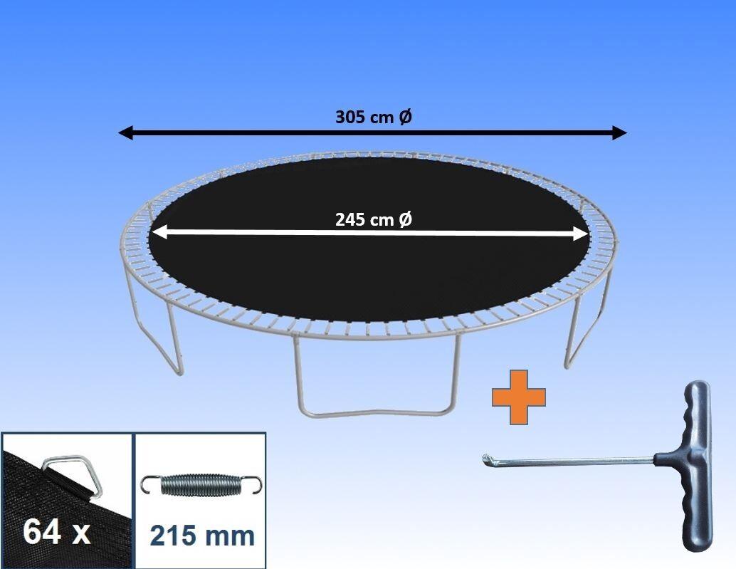 Sprungtuch Sprungmatte für Trampolin Ø 305 cm 64 Ösen Federn 21,5 cm Ersatzteile