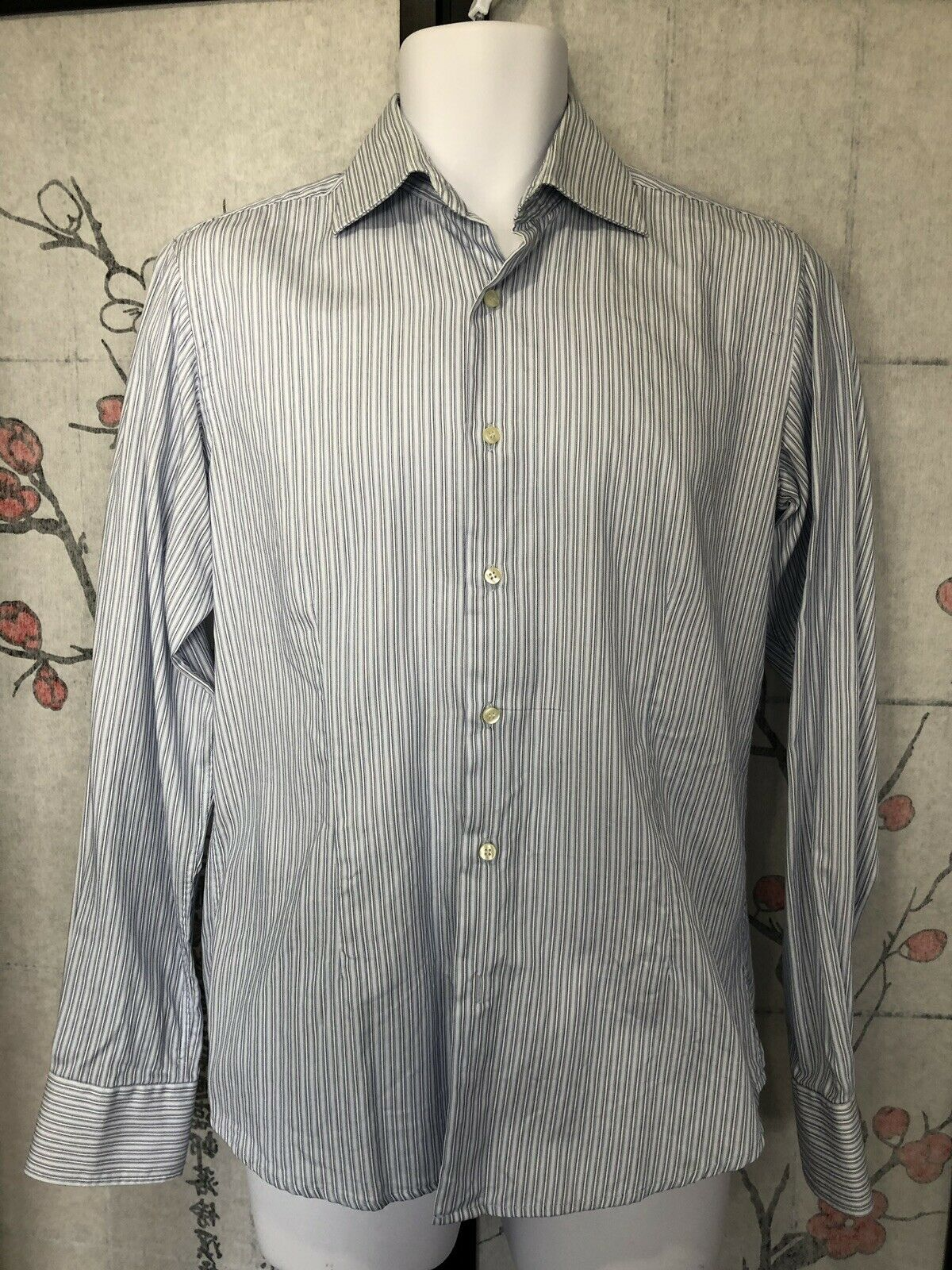 395 VALENTINO ROMA Slim Fit Striped Dress hemd Größe 15-3 4 or 40