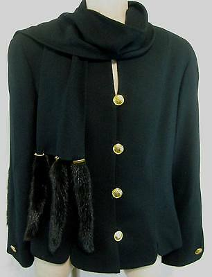 Lilli Ann Black Wool Jacket Size L Mink Tail Scarf
