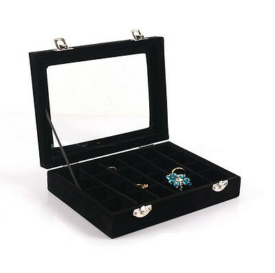 Organizer Case Box Holder Storage Glass Jewelry Earring Velvet Display Ring
