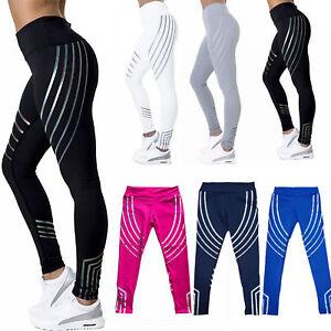 d36909f617603 Image is loading Hot-Fashion-Women-Glowing-Yoga-Rainbow-Sport-Pants-