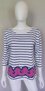 Vineyard-Vines-Womens-Top-M-Cotton-White-Navy-Blue-Magenta-Striped-3-4-Sleeve