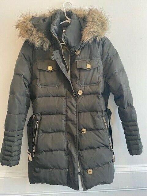 Michael Kors Jacket Coat Puffer Down Hood Faux Fur Belted ...