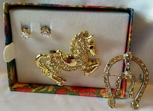 Rhinestone Horse Prancing Pony Gold Tone Brooch Lucky Horseshoe Pin Stud Earring