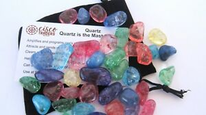 Crackle-Quartz-1-4LB-Tumbled-Stone-15-20mm-Carry-Pouch-Info-Card-Healing-Crystal