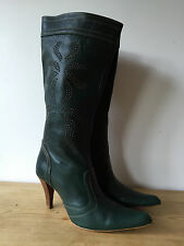 ZARA LADIES GREEN LEATHER MID CALF BOOTS WITH STUD DETAIL UK6