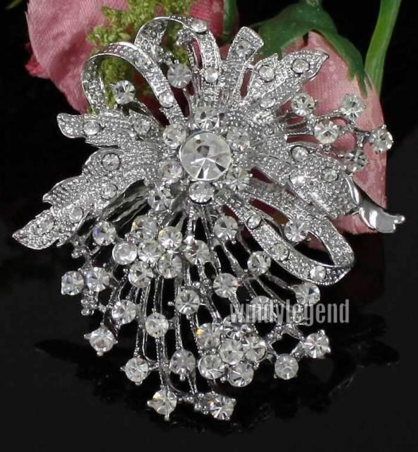 NEW CLEAR RHINESTONE CRYSTAL SILVER FLOWER BRIDAL WEDDING FAVOR BROOCH PIN GIFT