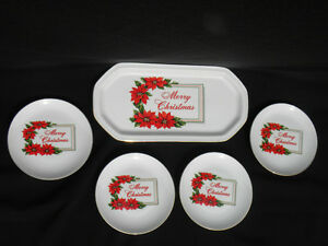 Vintage-Treasure-Masters-Merry-Christmas-5-Pc-China-Dessert-Set-Tray-amp-4-Plates