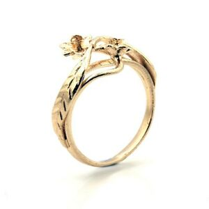 9ct-Rose-Gold-Ring-Welsh-Design-ring-with-Daffodil-Flower-Finger-Size-H-to-P