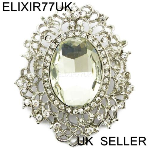 NEW LARGE SILVER VINTAGE VICTORIAN ANTIQUE LARGE PIN BROOCH DIAMANTE LOT BOUQUET