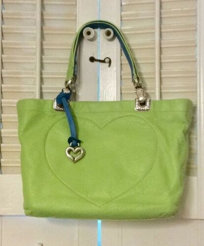 Brighton Lime Green Leather Bag With Blue Trim & F