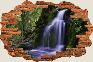 3D-Hole-in-Wall-Forest-Waterfall-View-Wall-Stickers-Film-Art-Decal-Wallpaper-S12