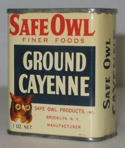 Rare-Vintage-Safe-Owl-Ground-Cayenne-Spice-Tin-can-Brooklyn-NY