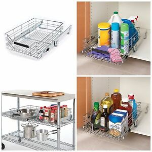 sliding metal organizer storage shelf cabinet drawer pull out wire basket bin ebay. Black Bedroom Furniture Sets. Home Design Ideas