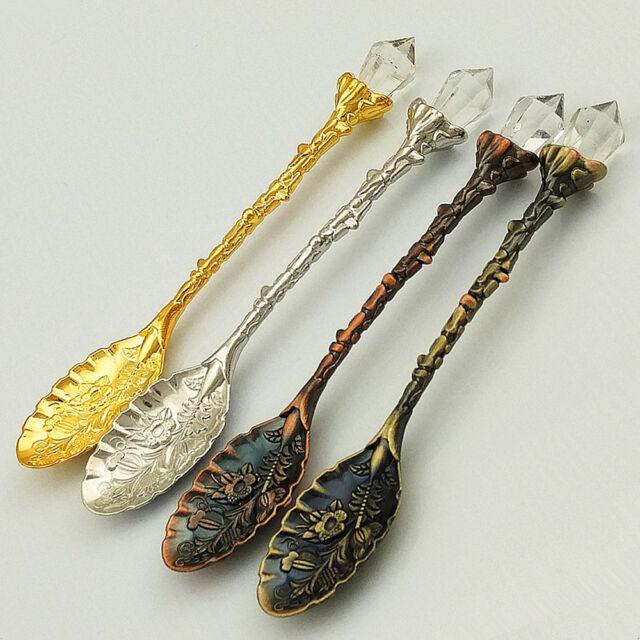 Retro Style Crystal Head Spoons Dessert Spoon Ice Cream  Kitchen Tableware DD