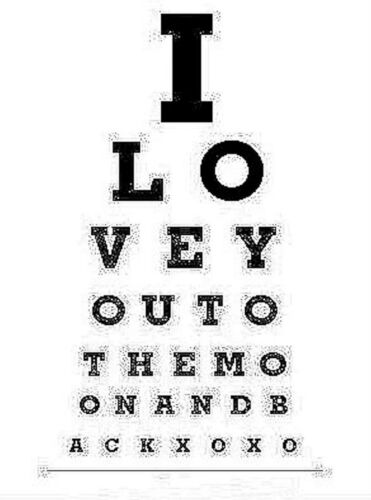 """Encadrée imprimer-dot travail style /""""i love you to the moon and back/"""" eye chart art"""