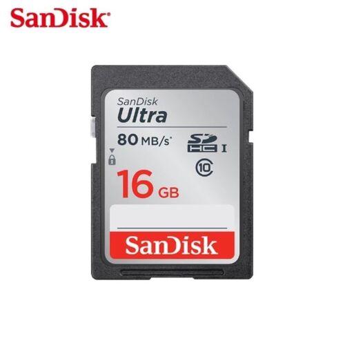 Nuevo SanDisk Ultra SDHC SD Tarjeta clase 10 16GB Tarjeta de memoria de 80mb//s Para Cámara