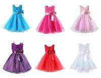 Girls Rose Bow Dress Flower Princess Sleeveless Formal Party Wedding Bridesmaid