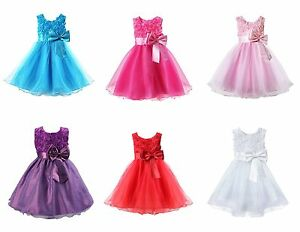 Filles-Demoiselle-D-039-Honneur-Robe-Bebe-Fleur-Kids-Party-Rose-Bow-Robes-de-mariee-princesse