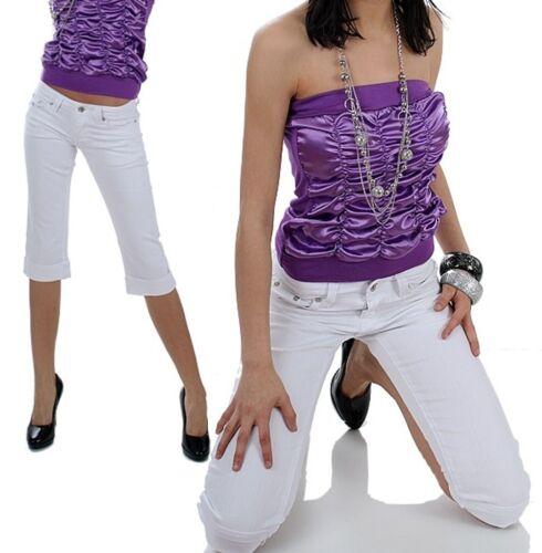 Capri Jeans weiß 36 weiss Hose Röhre gold weiss Damenhose knielang