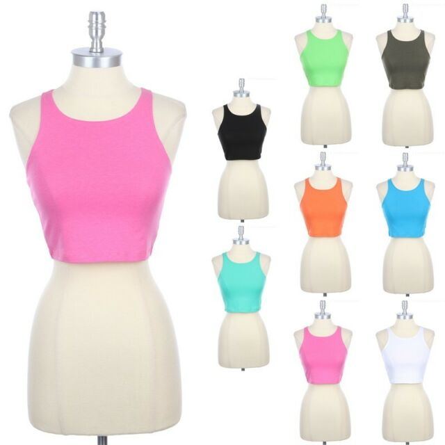 Racerback Cropped Tank Top Sleeveless Good for Work Out Cotton Spandex S M L