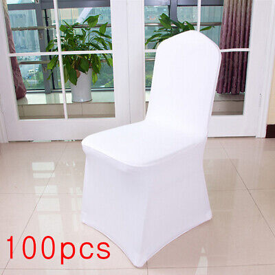 100pcs White Flat Front Covers Spandex Lycra Chair Cover Wedding Party