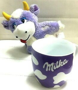 LOT-Of-2-MILKA-Chocolate-Collectibles-Ceramic-Coffee-Mug-Cup-Stuffed-Cow-Plush