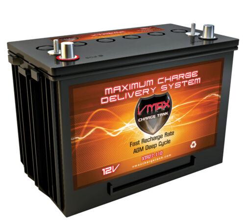 VMAX XTR27-110 12V 110Ah AGM SLA Battery fits Minn Kota Trolling Motor Power Ctr