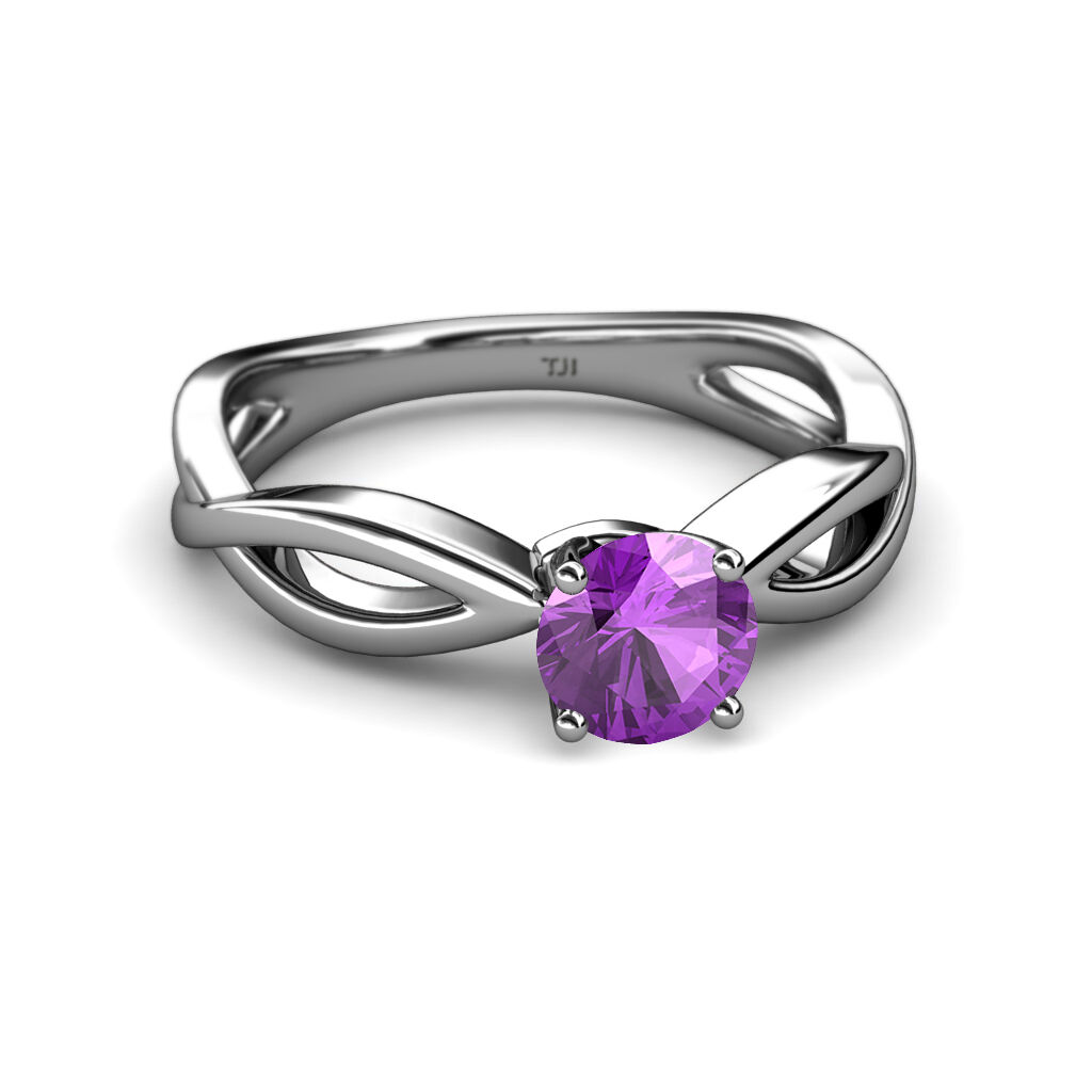 Amethyst Infinity Solitaire Engagement Ring 1.00 ct in 14K White gold JP 111354