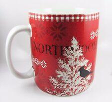 "EXTRA LARGE Coffee Mug ""Northwood Cottage"" Black Bird, Tree 222 Fifth. Red. New."