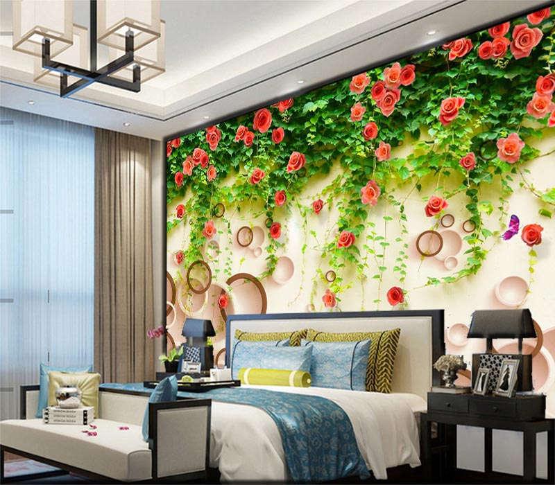 Grün Flower Rattan 3D Full Wall Mural Photo Wallpaper Printing Home Kids Decor