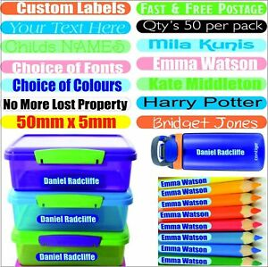50-Personalized-Name-Stick-On-Labels-Stickers-Waterproof-Tags-School-Kids-Custom