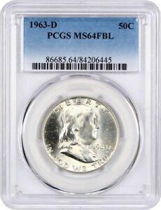 1963-D-50c-PCGS-MS64-Fbl-Franklin-Piece-D-039-un-Demi-Dollar