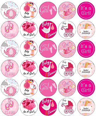 BABY GIRL SHOWER CUPCAKE TOPPERS X24 EDIBLE RICE PAPER FAIRY CAKE DECORATIONS