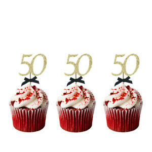 Image Is Loading 50th Birthday Cupcake Toppers With Bows Glittery Gold