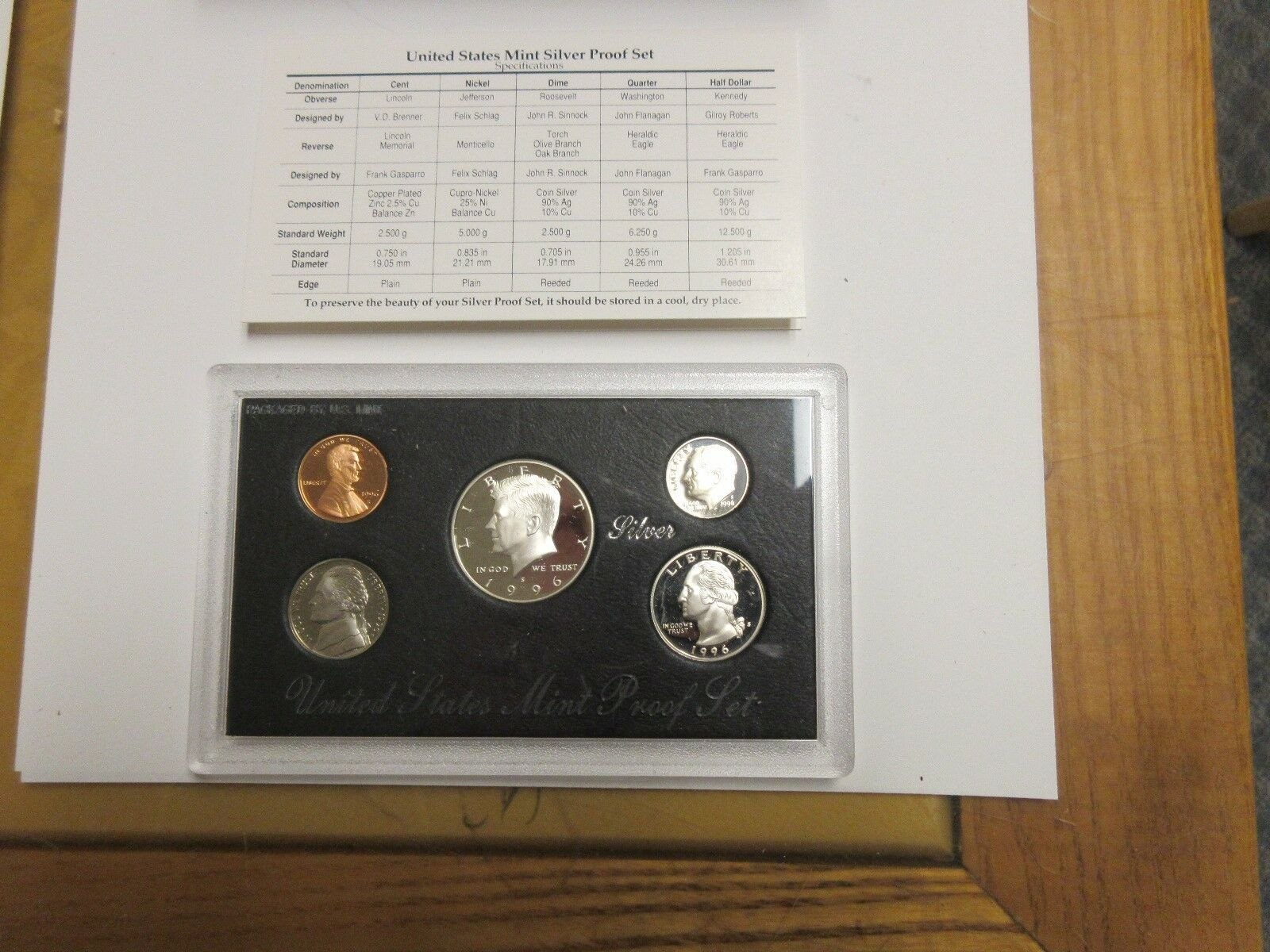 1996 , United States Mint Silver Proof Sets , Lot of 5