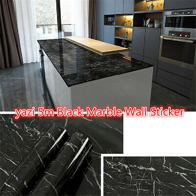 5m Black Marble Wall Sticker Granite Wallpaper Self Adhesive