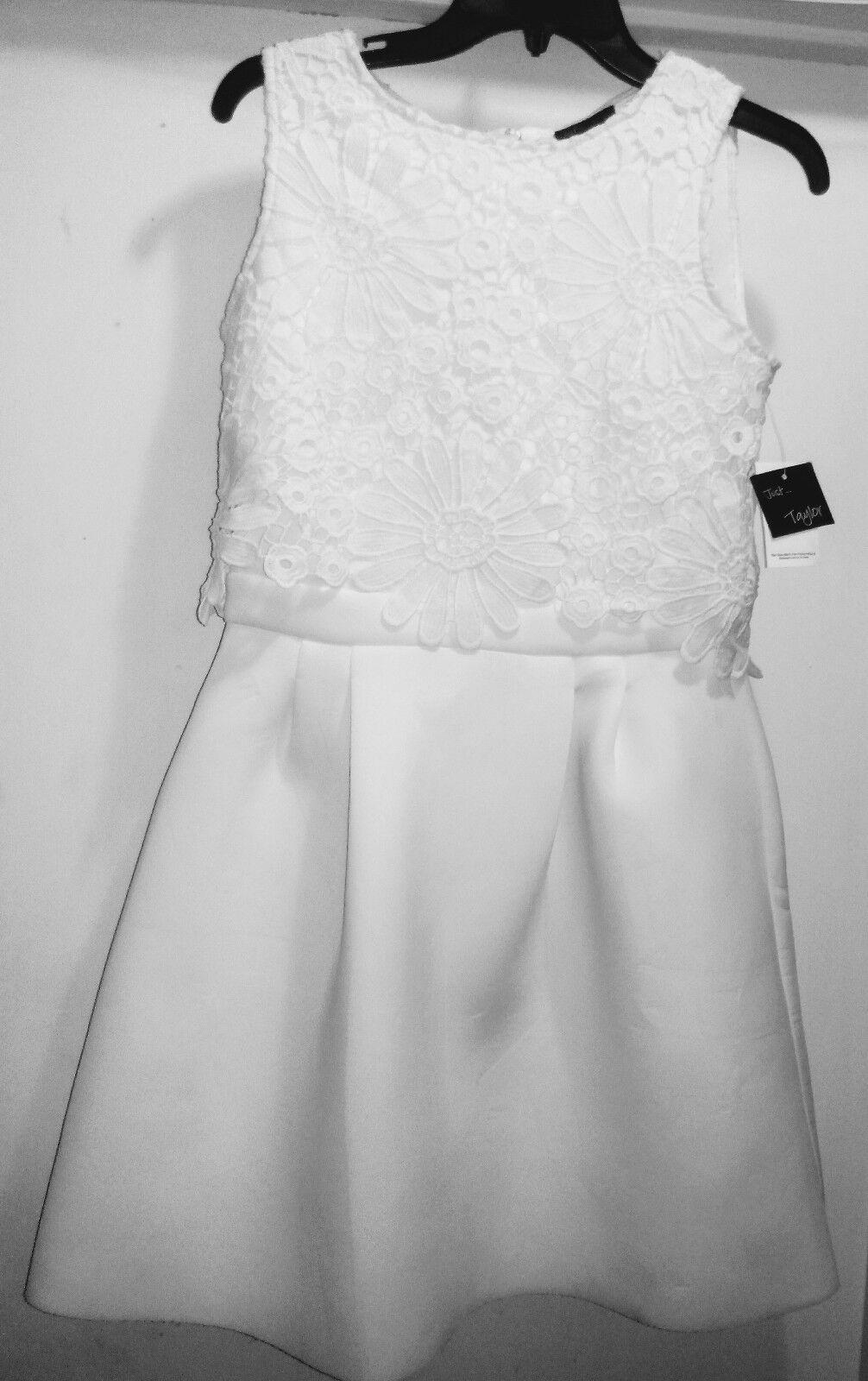 Just Taylor White Scuba Dress Size 8