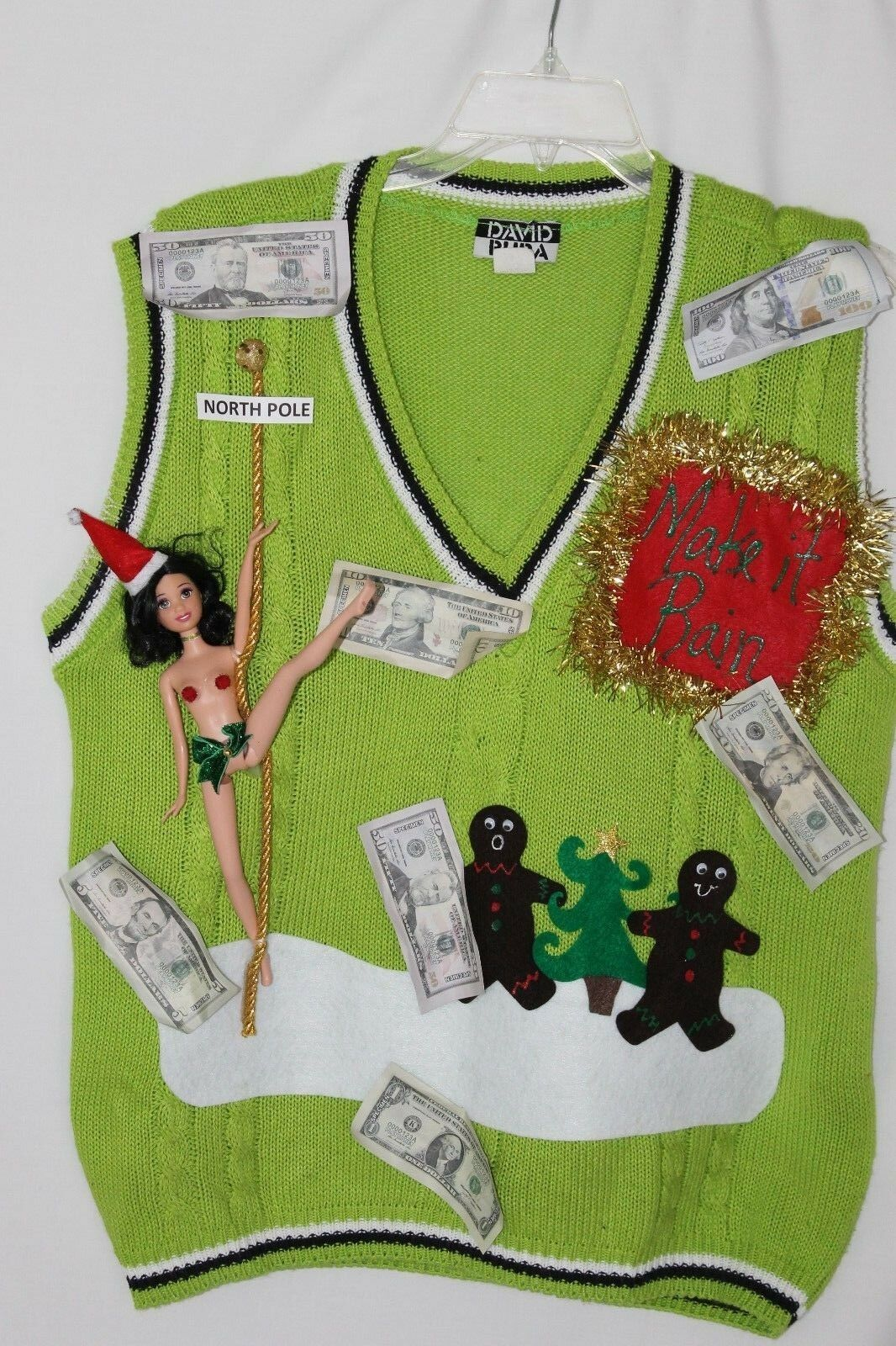 Ugly Naughty Christmas Sweater Stripper Barbie