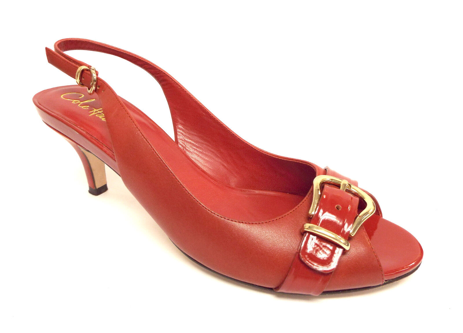COLE HAAN Size 9 Red Leather Slingback Heels Pumps shoes N. Air