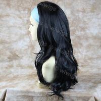 Wiwigs Long Wavy Layered Black 3/4 Fall Hairpiece Half Wig