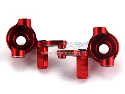 33001 Mozzi Anteriori In Alluminio Metallo Ergal Rosso 1/10 E10 Ricambi Himoto