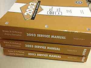 2003 chevy s 10 s10 blazer jimmy sonoma service shop manual set rh ebay com Dodge Factory Service Manual Nissan Factory Service Manual