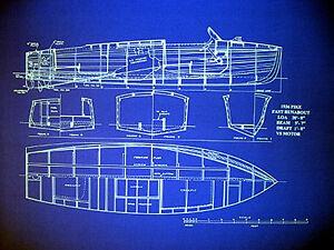 Motor Boat Blueprint Plan 1936 Vintage Speedboat 20 X 24 008 Ebay