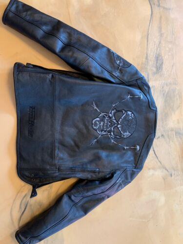 First Racing Size Large L Black Skull Leather Jack