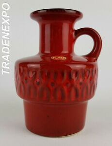 Vintage-1960-70s-FOHR-KERAMIK-Handled-Red-Vase-West-German-Pottery-Fat-Lava-Era