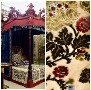 SWATCH-Designer-Belgium-Burnout-Floral-Chenille-Velvet-Fabric-Upholstery