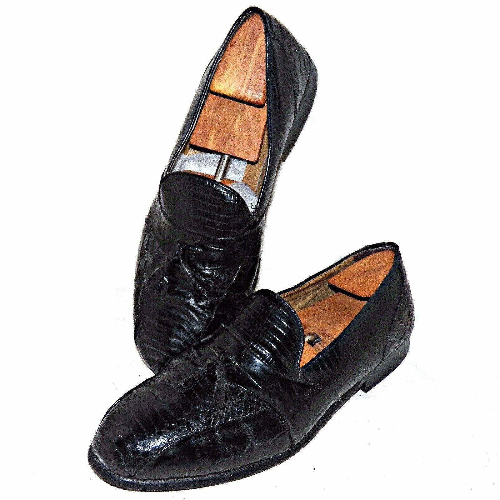 Stacy Adams Genuine Snakeskin Croc Print Leather Alberto Tassel Loafers 13 Wide