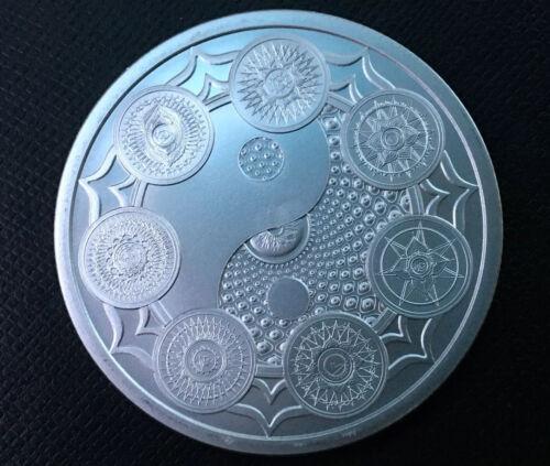 1 oz silver Cosmic Chakra Seven Chakras BU COA .999 Pure Hinduism silver shield!