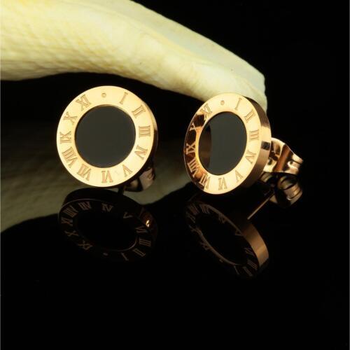 Ohrstecker Ohrringe Ø 10 mm 750er Gold 18K vergoldet gelbgold schwarz O3064S